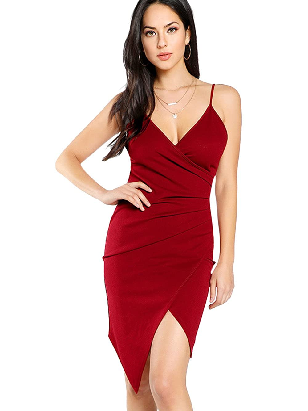 Red SheIn Women's Sexy V Neck Spaghetti Strap Ruched Overlap Bodycon Dress