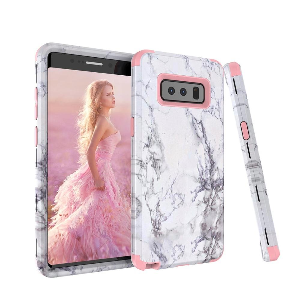 WensLTD Fashion Granite Marble Contrast Color PC Hard Phone Cover Case For Samsung Galaxy Note 8 (Pink, Note 8 (6.3Inch))