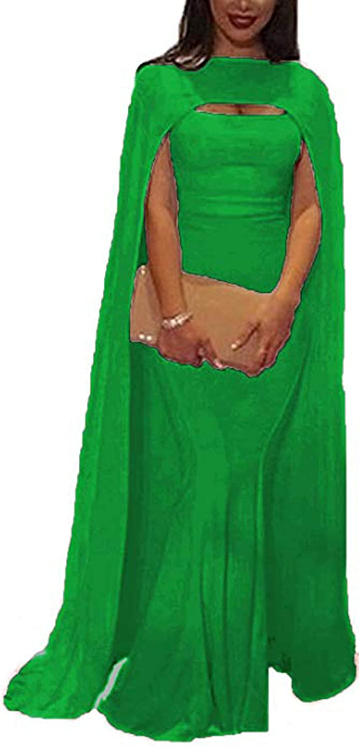 Green Ri Yun Women's Elegant Prom Dresses Long 2019 Mermaid Formal Evening Ball Gowns with Cape