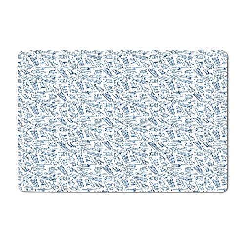 Jazz Music Welcome mat Pattern of Blue Sketchy Saxophones Trombones Timpani Drums Cellos Synthesizers Floor mat Blue White 20