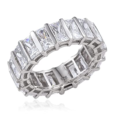 TJC Women Platinum Plated 925 Sterling Silver Made with Swarovski® Zirconia Halo Ring Size O aht1C