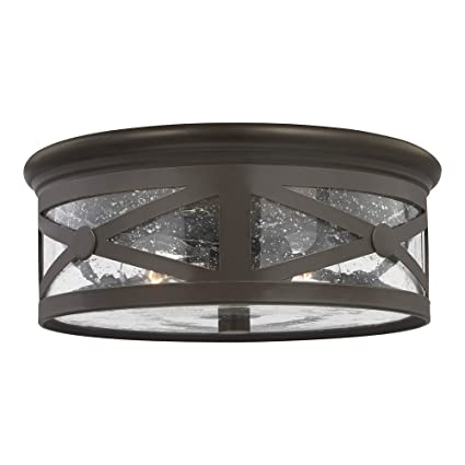 Sea Gull Lighting 7821402 71 Lakeview Two Light Outdoor Flush Mount Ceiling Light With Clear Seeded Glass Shade Antique Bronze Finish