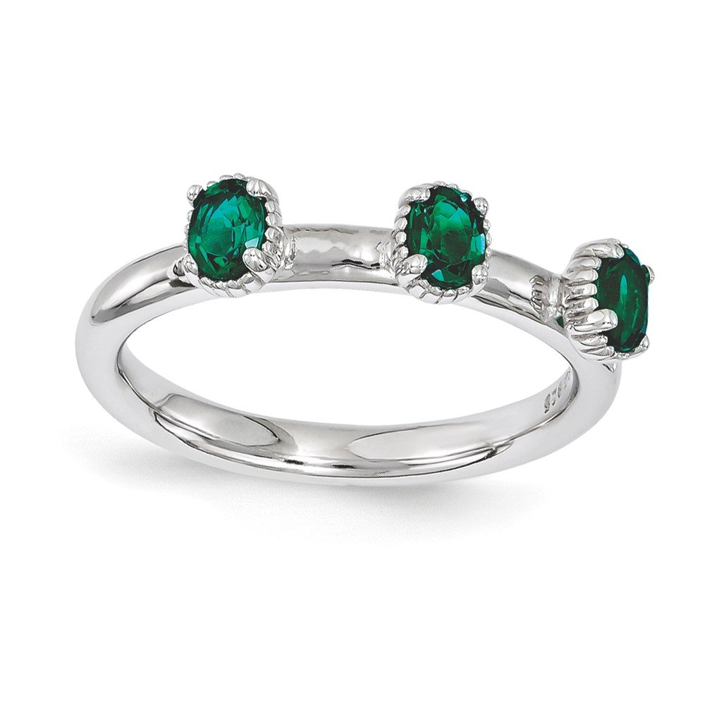 Top 10 Jewelry Gift Sterling Silver Stackable Expressions Created Emerald Three Stone Ring