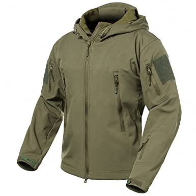 04cb8ceb7cda2 Spring Fever Men's Outdoor Softshell Military Tactical Jacket Waterproof  Hooded Camouflage Coat Army Green M