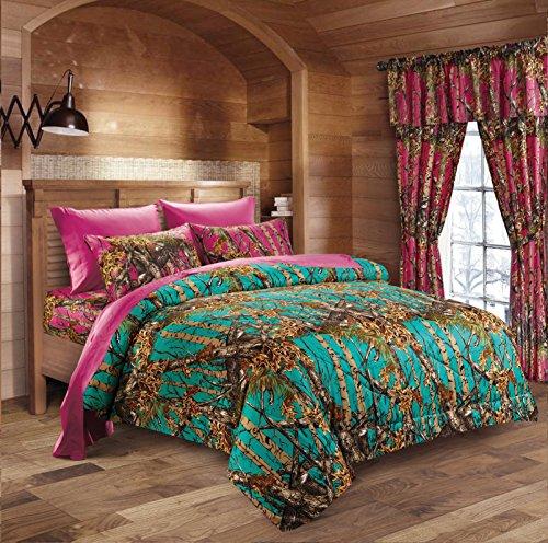 Hunter Camo Comforter, Sheet, & Pillowcase Set (Queen, Teal / Hot Pink)
