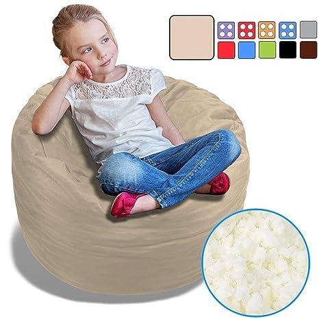 Terrific Beanbob Bean Bag Chair For Kids Foam Filled Bean Bag Bedroom Furniture Sofa For Children 2 5 Sand Dune Beige Inzonedesignstudio Interior Chair Design Inzonedesignstudiocom
