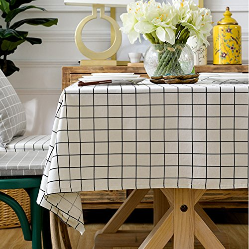 (ColorBird Check Plaid Tablecloth Water Resistant Cotton Linen Table Cover for Kitchen Dinning Tabletop Decoration (White, 55 x 70 Inch))