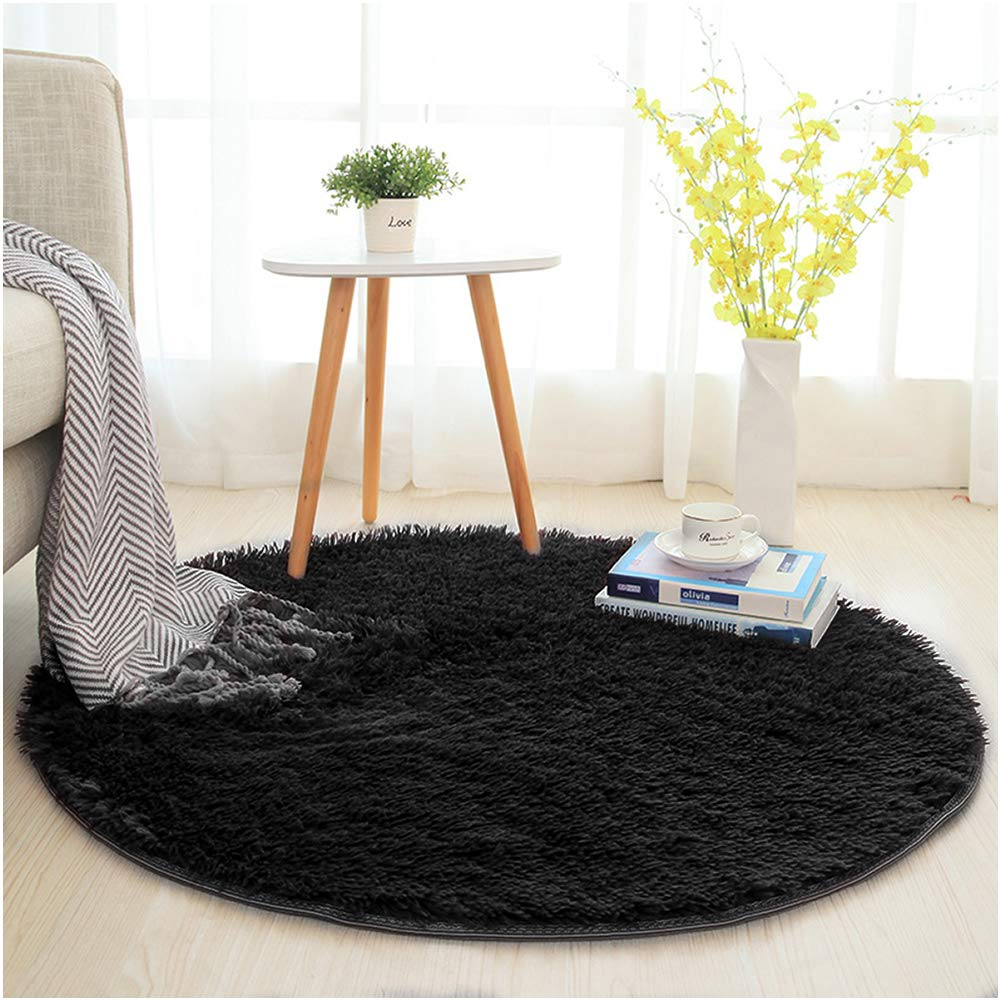 SANMU Soft Round Rug,Fluffy Silky Carpet Fashion Color Smooth Bedroom Mats Round Shag Floor Pad for Girls Bedroom Decorate and Indoor Use,4 Feet,Black