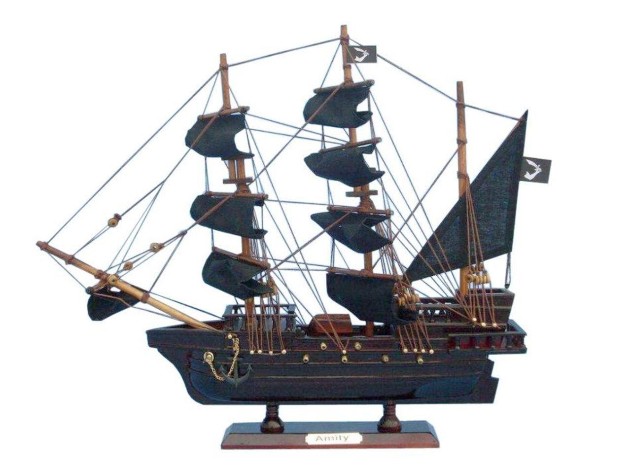 Hampton Nautical Wooden Thomas Tew's Amity Model Pirate Ship, 14''