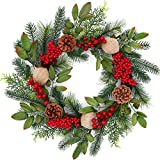 Tiny Land 18 Inch Christmas Wreath for Window & Advent- Handcraft Boxwood Frame with Variant Red Berry & Evergreen Leaf- Ideal Winter Decorating for Indoor & Outdoor Use- Without Light