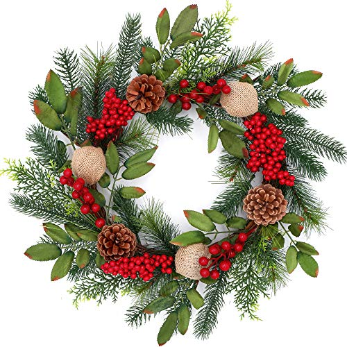 Tiny Land 18 Inch Christmas Wreath for Window & Advent- Handcraft Boxwood Frame with Variant Red Berry & Evergreen Leaf- Ideal Winter Decorating for Indoor & Outdoor Use- Without Light (Christmas Wreaths)