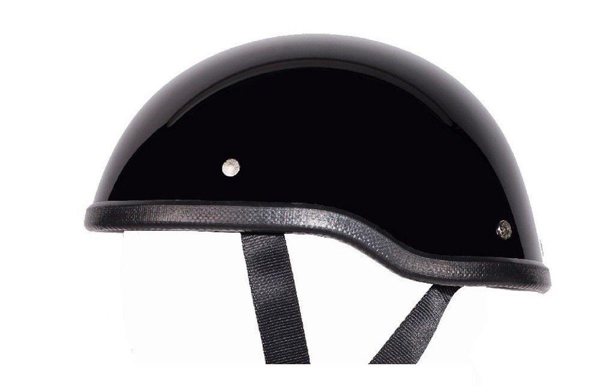 Medium 22 1//4-22 3//4 Low Profile Novelty Harley Chopper Motorcycle Half Helmet Skull Cap Shiny Black