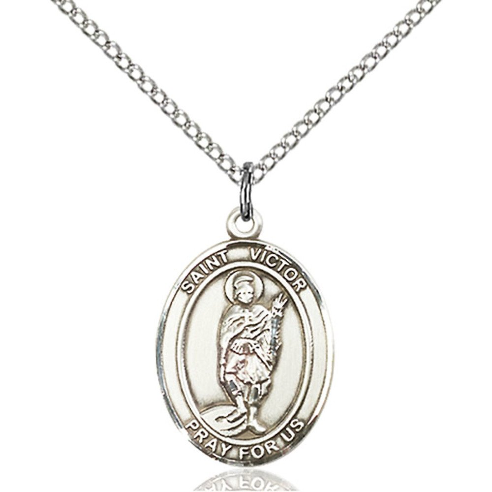 Bonyak Jewelry St Victor of Marseilles Hand-Crafted Oval Medal Pendant in Sterling Silver