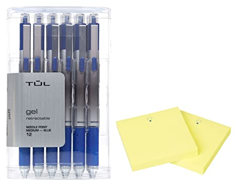 TUL GL1 Gel Pen Retractable Needle Point Medium 0.7mm, Blue 12/pk +