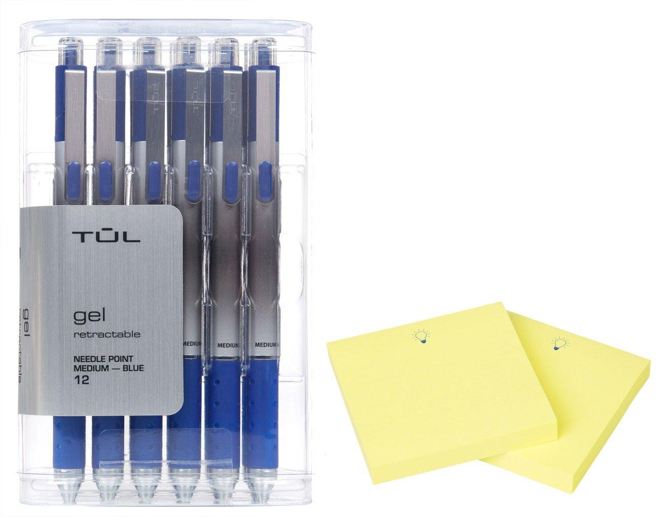TUL GL1 Gel Pen Retractable Needle Point Medium 0.7mm, Blue 12/pk + ''IdeaPad'' Post-It Notes (200-ct) Bundle