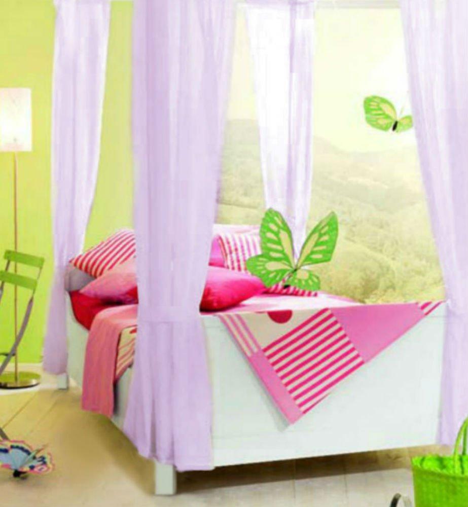Sheer Ideas - Set di tende per letto a baldacchino a 4 pali, per ragazze, colori disponibili: bianco, panna, rosa, lilla Cream 4 Panel Set