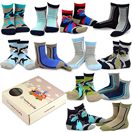 TeeHee Kids Boys Cotton Fun Crew Socks 12 Pair Pack for sale  Delivered anywhere in USA