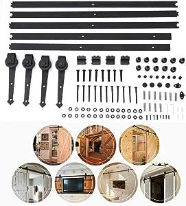 Juego de herrajes para puerta corredera de madera de granero de estilo retro, de 1,8 m, para puerta interior de madera, color negro, con forma de rueda, negro: Amazon.es: Bricolaje y herramientas