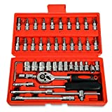 Replaitz 46pcs 1/4-Inch Socket Ratchet Wrench Combination Tools Kit for Auto Repairing 1/4