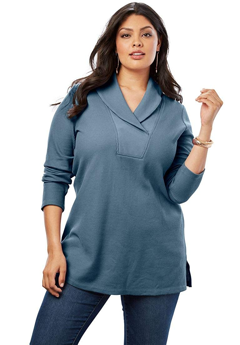 Roamans Women's Plus Size Thermal Shawl Collar Tunic