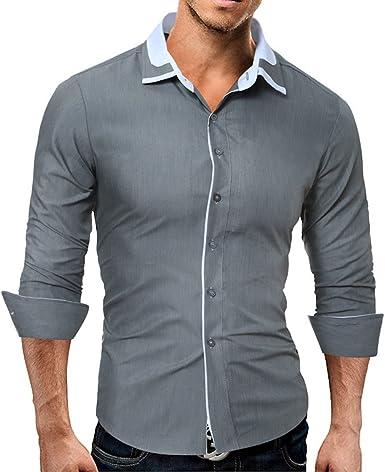 Hombres Camiseta Slim, Camisa, Blusa Normal, Camisa de Manga Larga, Gris, 2XL: Amazon.es: Ropa y accesorios