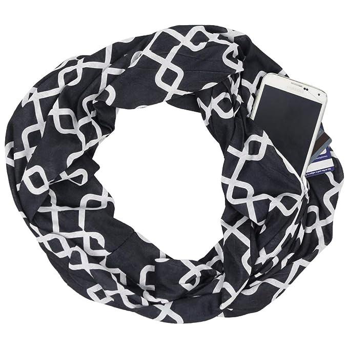 927a781e5 Womens Interlocking Chain Square Pattern Scarf w/Zipper Pocket - Pop Fashion  (Black)