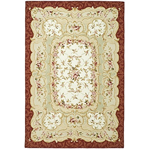 (Safavieh Chelsea Collection HK73A Hand-Hooked Ivory and Burgundy Premium Wool Area Rug (5'3