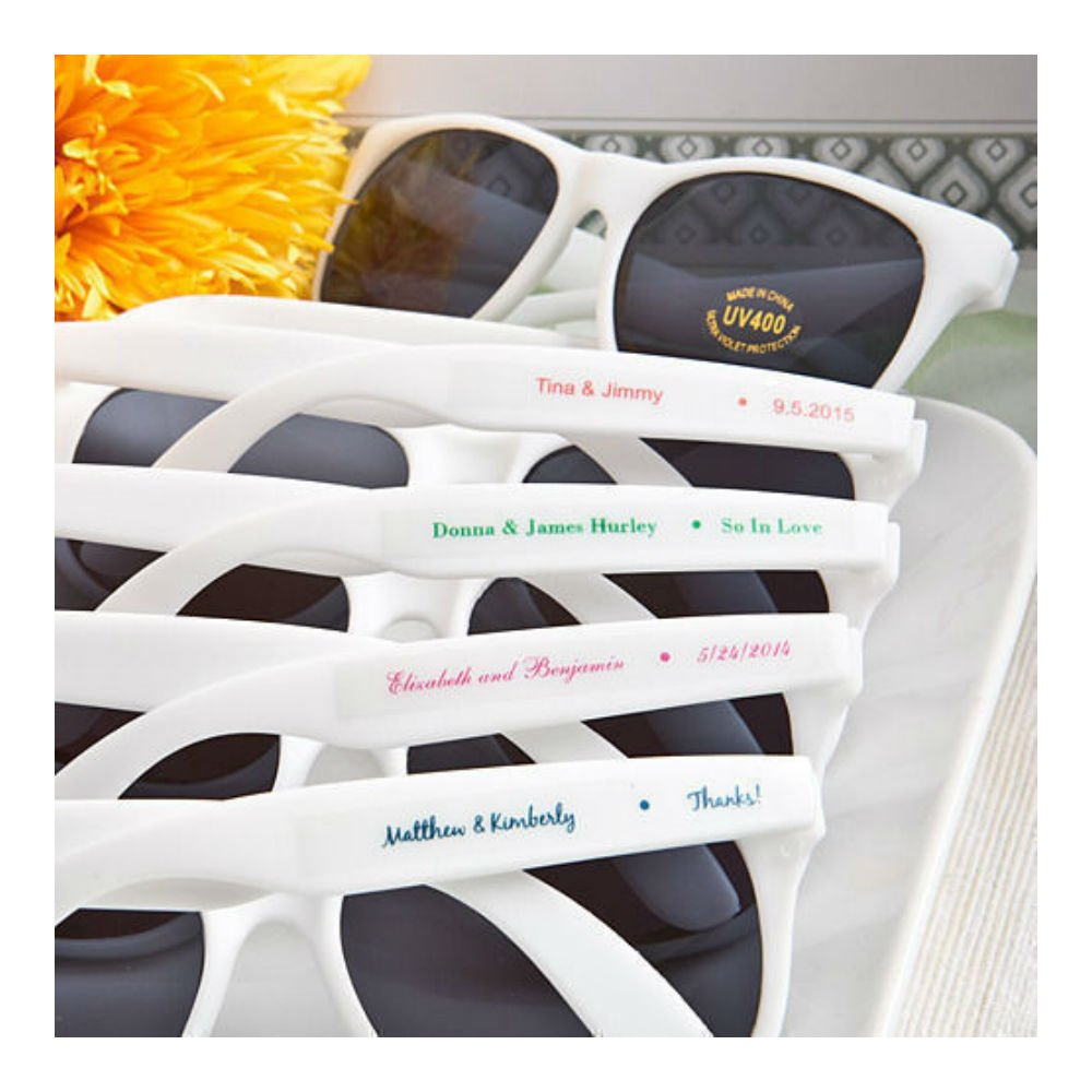 Amazon com 40 personalized white sunglasses beach themed wedding and party favor romantic toys games