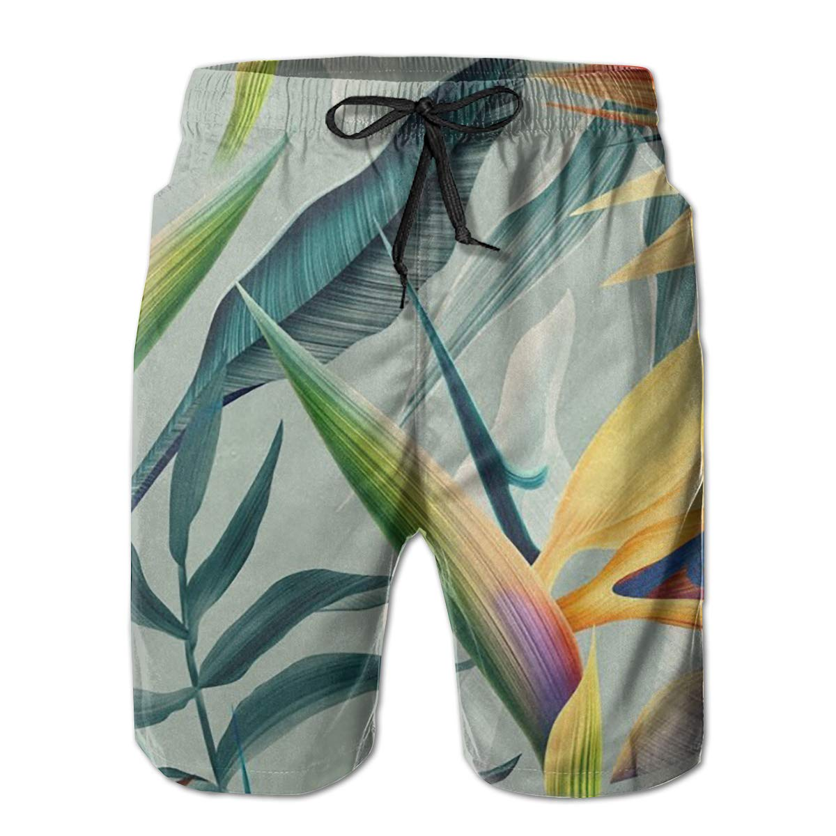 Birds of Paradise Flower Mens Beach Shorts Summer Casual Swim Trunks with Pockets