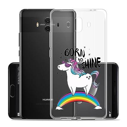 Funda para Huawei Mate 10 Carcasa , YIGA Moda Unicornio del arco iris Caso Cristal Transparente Funda TPU Gel Cubierta De Silicona Suave Tapa Case ...