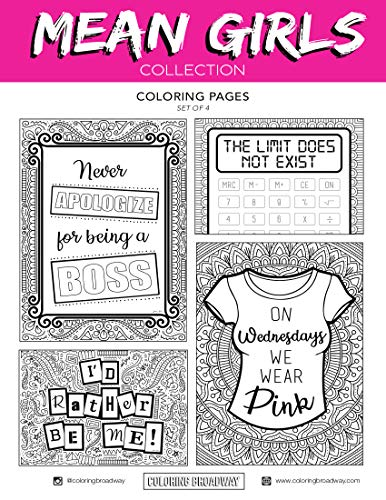 Mean Girls Musical - Coloring Pages - Hand-drawn illustrations by Coloring Broadway. Printed on matte card stock. (8 1/2