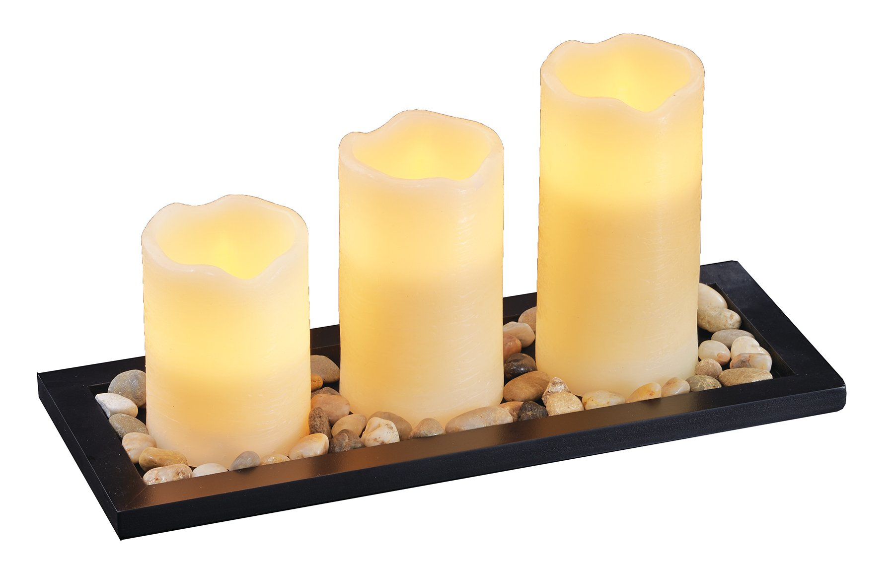 Flameless Pillar Candles, Set of 3 - Safe for Your Family and Pets - Vanilla Scented for Stress-Free Relaxation, Dripless Wax Candles with Wood Tray and Pebbles - Battery Operated Votives