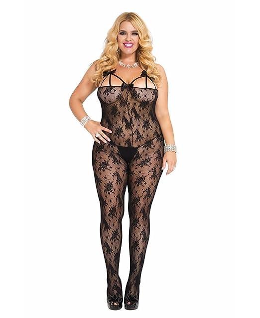 83dd7224909 Amazon.com  Music Legs Women s Plus-Size Rose Lace Crotchless ...