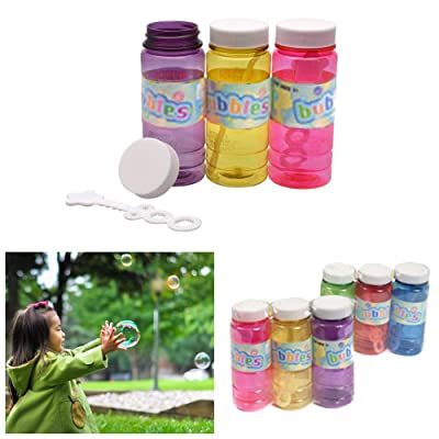 6pc Bubble Liquid Soap Solution Bubbles Maker Outdoor Kids Fun 4 Oz Party Favors: Office Products