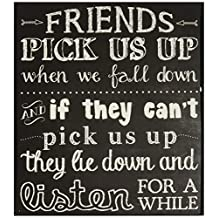"Blossom Bucket 1466-38283 ""Friends Pick Us Up"" Wall Box Sign, 5 by 6-Inch, Black/White"
