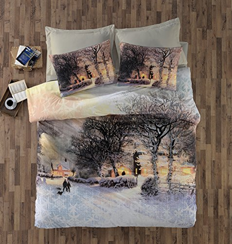 Gold Case - Touch Series - WINTER - Premium Quality Visco-Cotton Duvet Cover Set - Made in Turkey - Extra Smooth - Thanks to super absorbent and smooth properties of viscose, Queen size