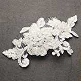 Mariell Romantic English Rose Ivory Lace Handmade Bridal Hair Comb - Gorgeous Vintage Wedding Headpiece
