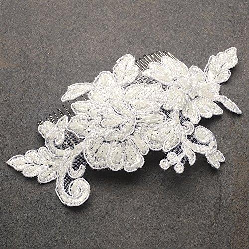Mariell Romantic English Rose Ivory Lace Handmade Bridal Hair Comb - Gorgeous Vintage Wedding ()