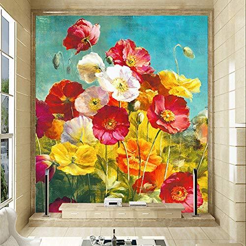 Papel De Parede Floral Fashion Interior Flower Oil Painting Design 3D Mural Wallpaper Hotel Lobby Living Room Entrance ()
