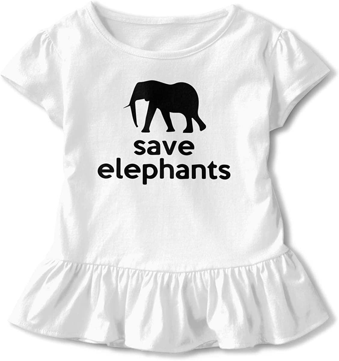 SC/_VD08 Save The Elephants Baby Girls Round Collar Tee Pullovers