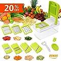 Godmorn Vegetable Slicer, Mandoline Slicer Dicer, 7 blades Peeler Hand-Guard Cleaning Tool Bonus,Multi-function Food Proceer, Fruit and Cheese Cutter,Chopper,Grater