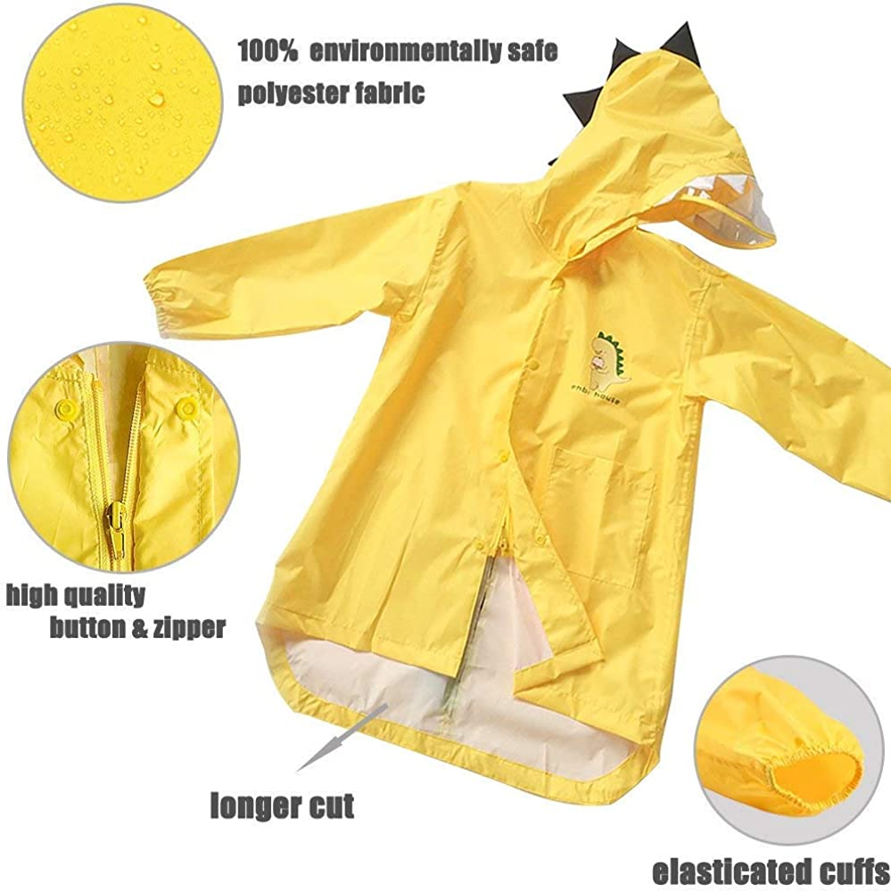 Zerototens Baby Raincoat 3-7 Years Old Toddler Kids Rain Jacket Dinosaur Shaped Lightweight Rainwear Rain Slicker Boys Girls Waterproof Outwear Long Tops