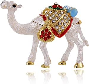 Hand Painted Camel Trinket Box, Hinged Enameled Jewelry Box, Unique Mini Ring Earrings Jewelry Organizer, Vintage Bejeweled Storage, Figurine Collectible Keepsake Home Decor (Camel)