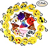 "Dreampark Emoji Keychain Mini Cute Plush Pillows, Key Chain Decorations, Kids Party Supplies Favors, 2"" Set of 25"