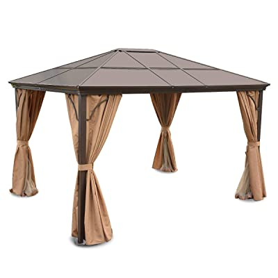 YITAHOME Hardtop Aluminum Permanent Gazebo - Gazebo Canopy Replacement for Patios and Outdoor Patio Garden Gazebo with 2-Layer Sidewalls (12ft x 10ft) : Garden & Outdoor