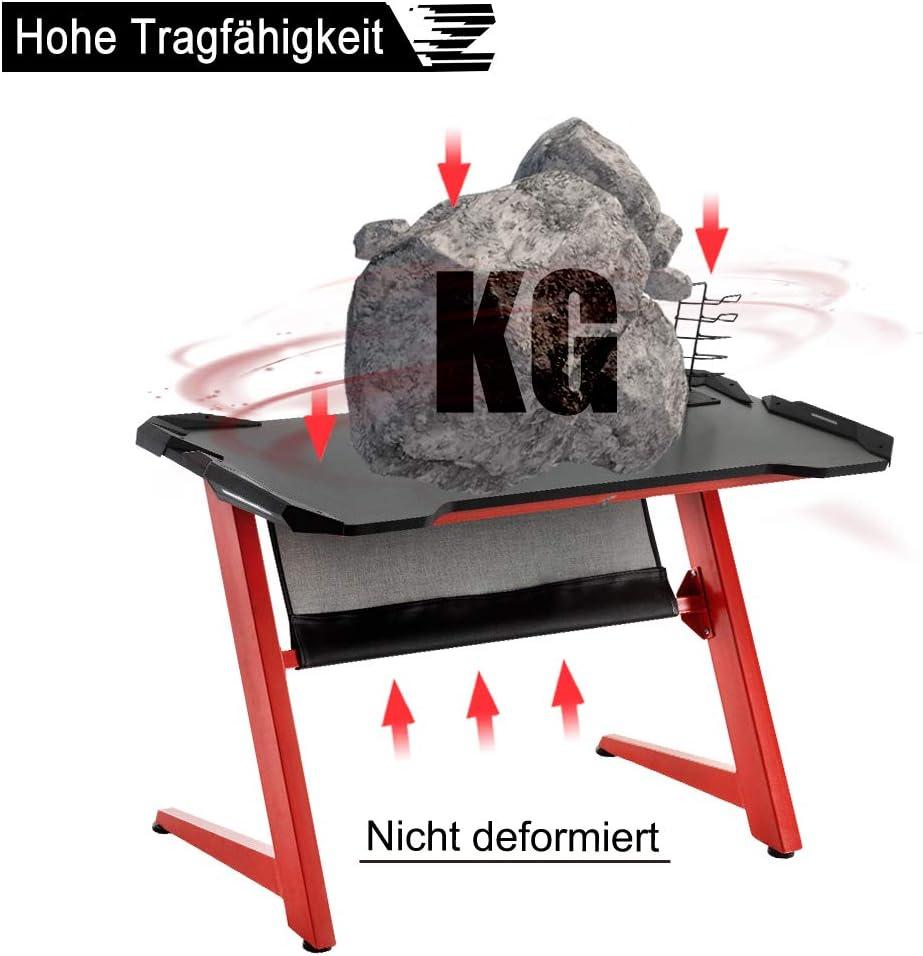 Table de jeu pour PC de bureau - Avec crochet pour casque - Charge maximale : 70 kg - Dimensions : 119,5 x 60 x 72,5 cm (L x l x h).