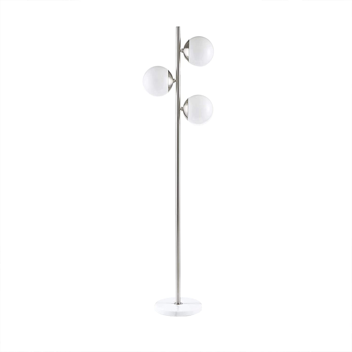 Madison Park Signature MPS154-0102 Holloway Floor Lamp - Modern Luxe Accent Furniture Décor Lighting for Living Room Metal Two-Tone Uplight, White Round Shades and Base, Silver