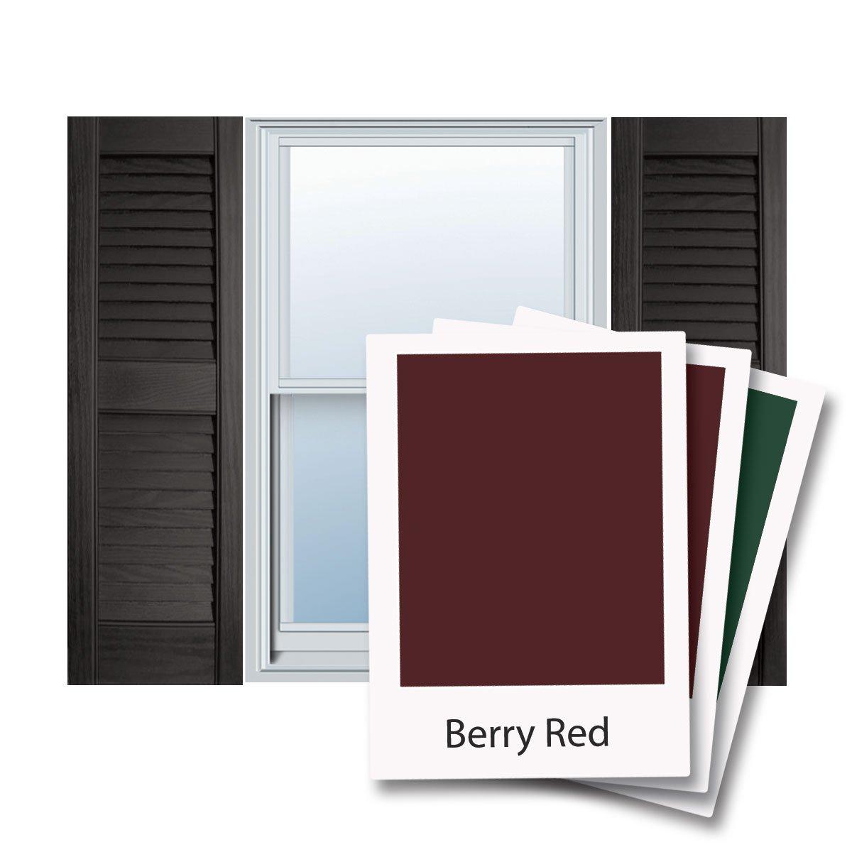 12'' x 28'' Builders Choice Vinyl Open Louver Window Shutters, w/Shutter Spikes & Screws (Per Pair), Berry Red