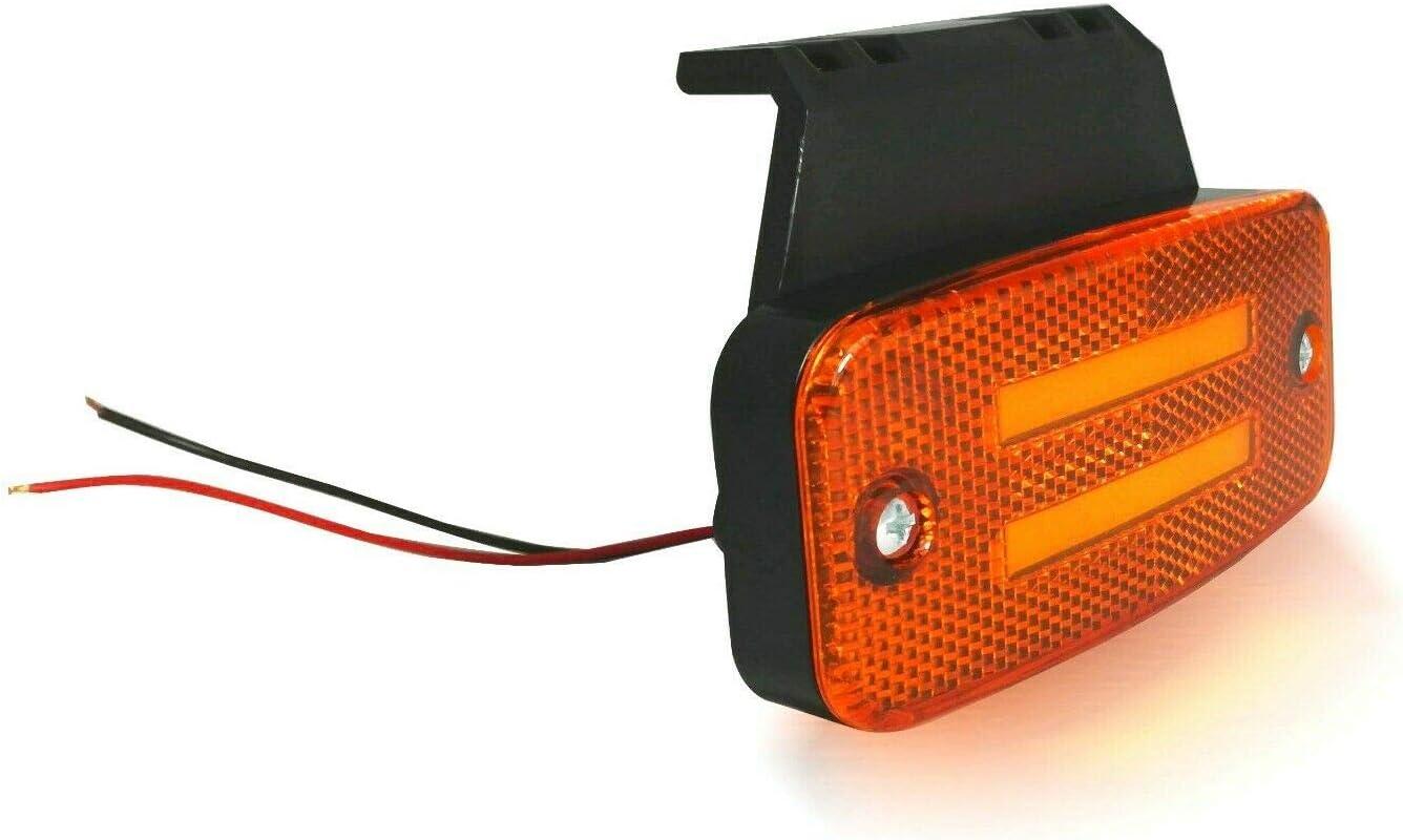 flexzon 6x 8 Led Neon Side Perimeter Orange Marker 12v 24v Lights Lamps With Brackets