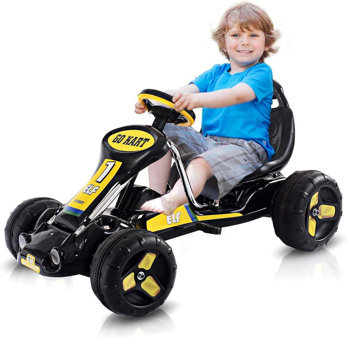 Honey Freude gehen Kart, Kids Ride auf Auto mit Adjustable Bucket Seat, 4 Tires mit Anti-Slip Strips, Pedal Kart für Boys & Girls 3-8 Years alt (Black)